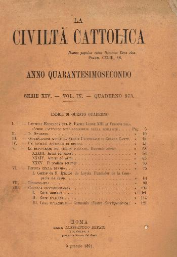 La Civiltà Cattolica. Anno 42, quaderno 973, AA.VV.