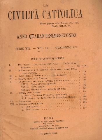 La Civiltà Cattolica. Anno 42, quaderno 974, AA.VV.