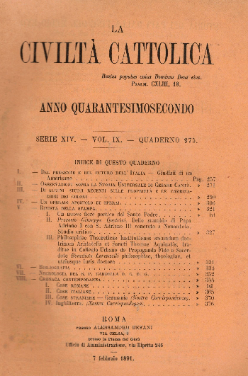 La Civiltà Cattolica. Anno 42, quaderno 975, AA.VV.