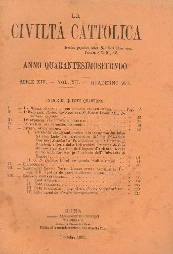 La Civiltà Cattolica. Anno 42, quaderno 991, AA.VV.