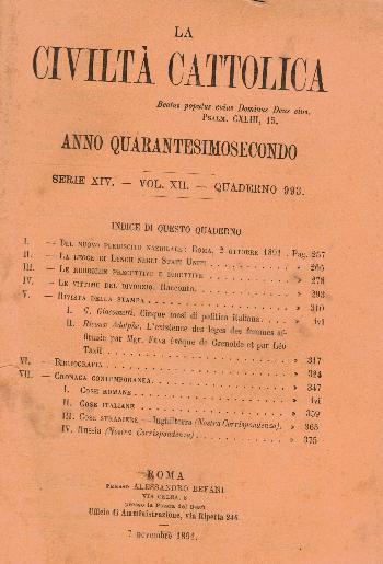 La Civiltà Cattolica. Anno 42, quaderno 993, AA.VV.
