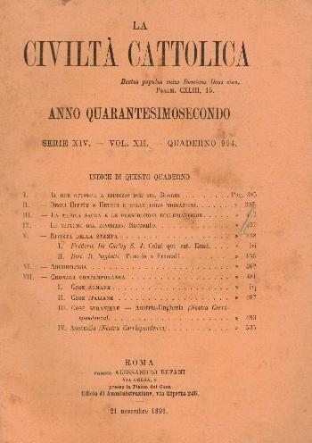La Civiltà Cattolica. Anno 42, quaderno 994, AA.VV.