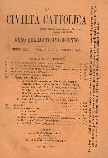 La Civiltà Cattolica. Anno 42, quaderno 995, AA.VV.