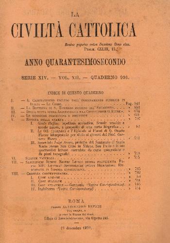 La Civiltà Cattolica. Anno 42, quaderno 996, AA.VV.