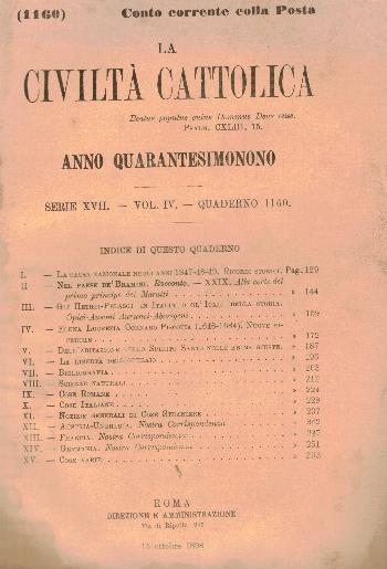La Civiltà Cattolica. Anno 49, quaderno 1160, AA.VV.