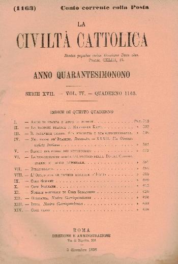 La Civiltà Cattolica. Anno 49, quaderno 1163, AA.VV.