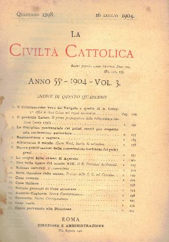 La Civiltà Cattolica. Anno 55, quaderno 1298, AA.VV.