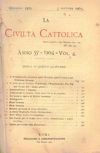 La Civiltà Cattolica. Anno 55, quaderno 1305, AA.VV.