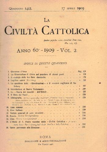 La Civiltà Cattolica. Anno 60, quaderno 1412, AA.VV.