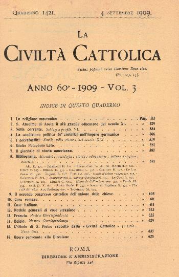 La Civiltà Cattolica. Anno 60, quaderno 1421, AA.VV.