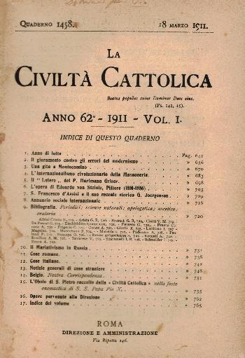 La Civiltà Cattolica. Anno 62, quaderno 1458, AA.VV.