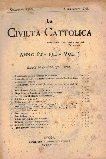 La Civiltà Cattolica. Anno 62, quaderno 1469, AA.VV.