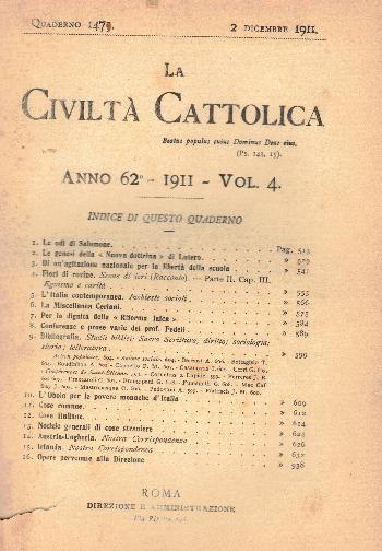 La Civiltà Cattolica. Anno 62, quaderno 1475, AA.VV.