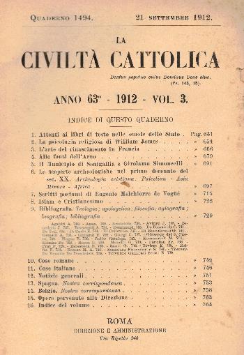 La Civiltà Cattolica. Anno 63, quaderno 1494, AA.VV.