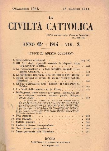La Civiltà Cattolica. Anno 65, quaderno 1534, AA.VV.