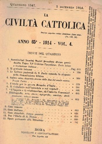 La Civiltà Cattolica. Anno 65, quaderno 1547, AA.VV.