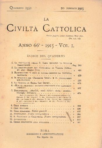 La Civiltà Cattolica. Anno 66, quaderno 1552, AA.VV.