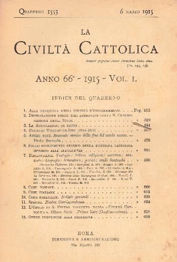 La Civiltà Cattolica. Anno 66, quaderno 1553, AA.VV.