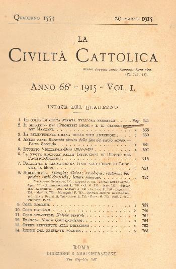 La Civiltà Cattolica. Anno 66, quaderno 1554, AA.VV.