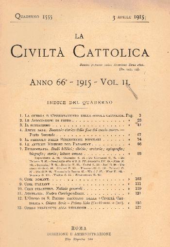 La Civiltà Cattolica. Anno 66, quaderno 1555, AA.VV.
