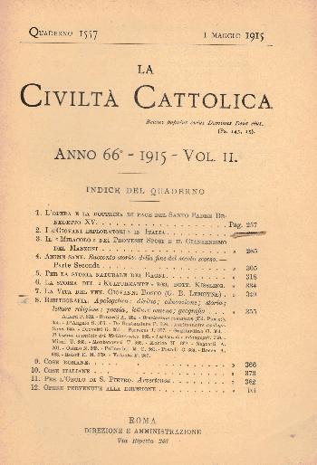La Civiltà Cattolica. Anno 66, quaderno 1557, AA.VV.