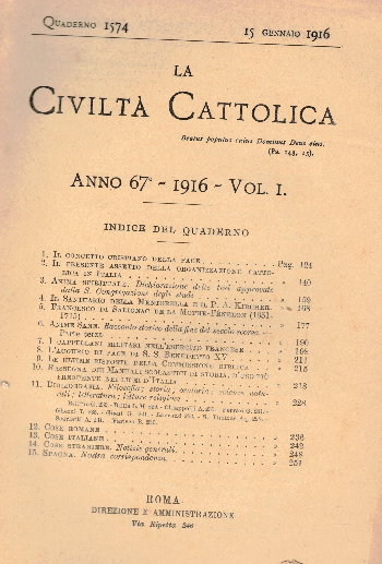 La Civiltà Cattolica. Anno 67, quaderno 1574, AA.VV.