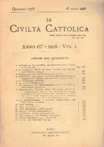 La Civiltà Cattolica. Anno 67, quaderno 1578, AA.VV.
