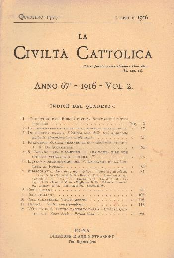 La Civiltà Cattolica. Anno 67, quaderno 1579, AA.VV.