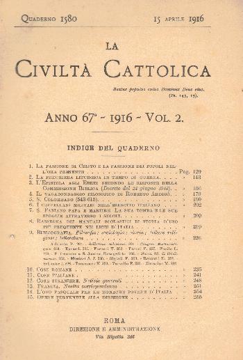 La Civiltà Cattolica. Anno 67, quaderno 1580, AA.VV.