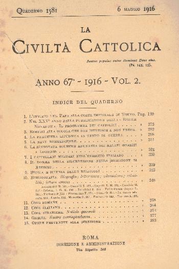 La Civiltà Cattolica. Anno 67, quaderno 1581, AA.VV.