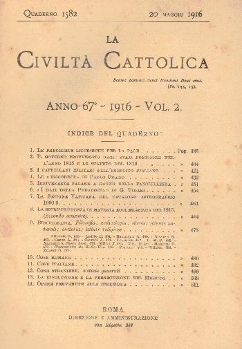 La Civiltà Cattolica. Anno 67, quaderno 1582, AA.VV.
