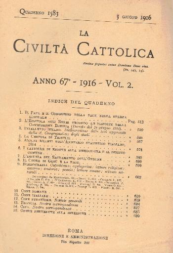 La Civiltà Cattolica. Anno 67, quaderno 1583, AA.VV.