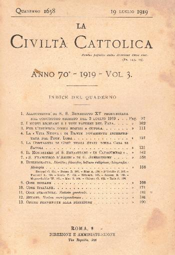 La Civiltà Cattolica. Anno 70, quaderno 1658, AA.VV.