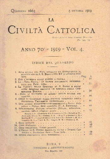 La Civiltà Cattolica. Anno 70, quaderno 1663, AA.VV.