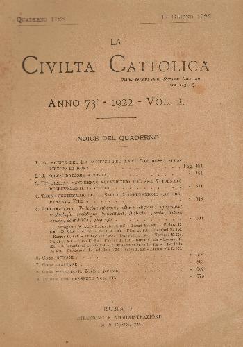 La Civiltà Cattolica. Anno 73, quaderno 1728, AA.VV.