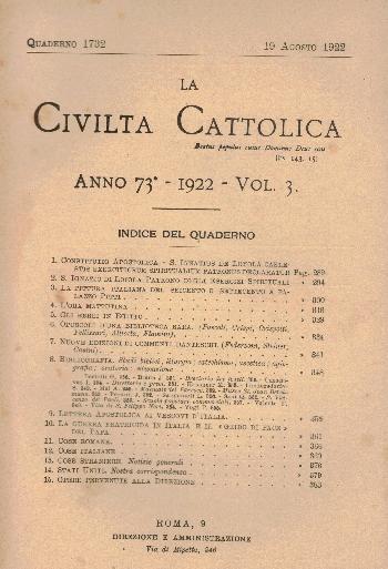 La Civiltà Cattolica. Anno 73, quaderno 1732, AA.VV.