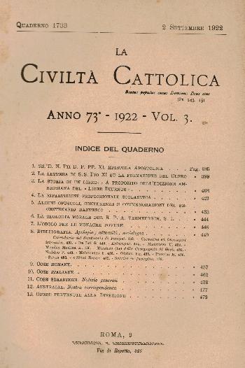 La Civiltà Cattolica. Anno 73, quaderno 1733, AA.VV.