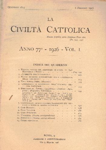 La Civiltà Cattolica. Anno 77, quaderno 1815, AA.VV.