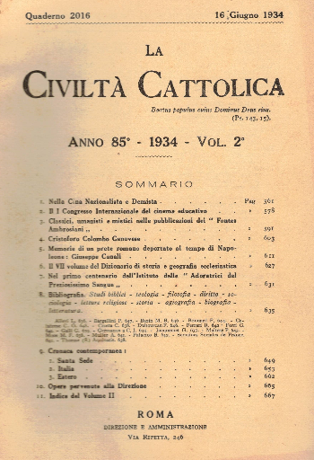 La Civiltà Cattolica. Anno 85, quaderno 2016, AA.VV.