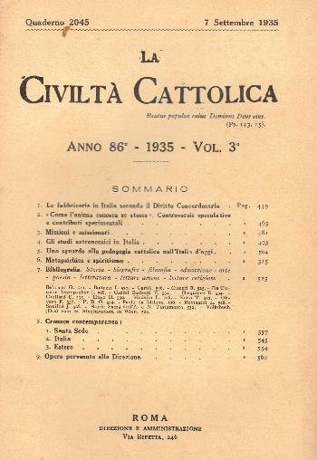La Civiltà Cattolica. Anno 86, quaderno 2045, AA.VV.