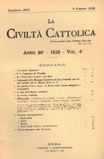 La Civiltà Cattolica. Anno 86, quaderno 2047, AA.VV.