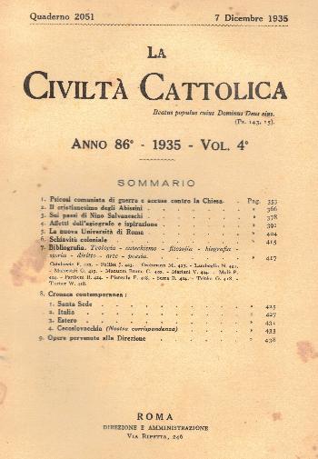 La Civiltà Cattolica. Anno 86, quaderno 2051, AA.VV.