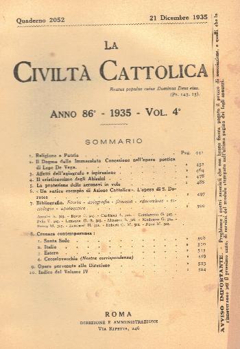La Civiltà Cattolica. Anno 86, quaderno 2052, AA.VV.