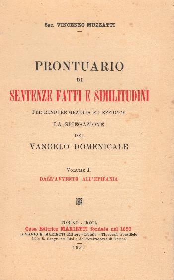 Prontuario di Sentenze fatti e similitudini, Sac. Vincenzo Muzzatti