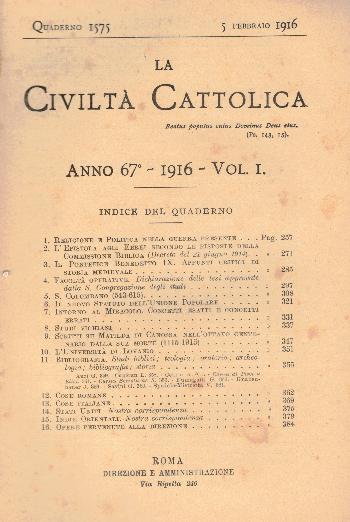 La Civiltà Cattolica. Anno 67, quaderno 1575, AA.VV.
