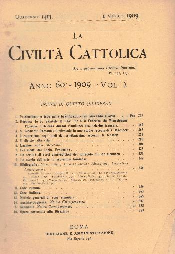 La Civiltà Cattolica. Anno 60, quaderno 1413, AA.VV.