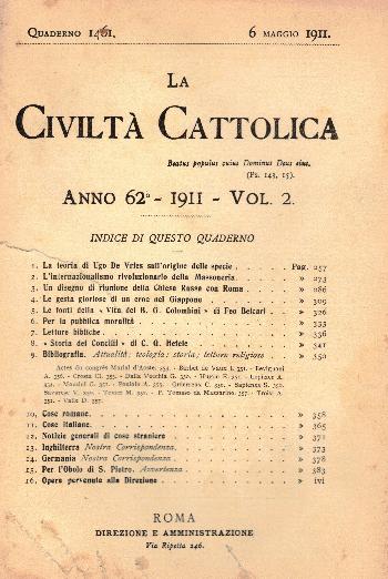 La Civiltà Cattolica. Anno 62, quaderno 1461, AA.VV.