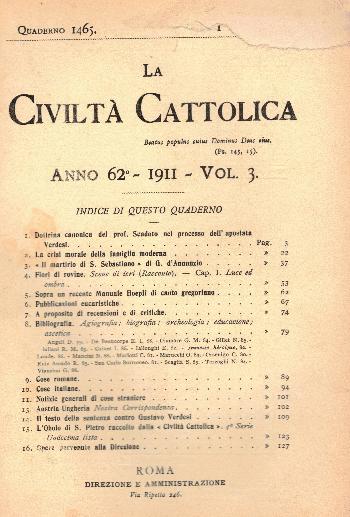 La Civiltà Cattolica. Anno 62, quaderno 1465, AA.VV.