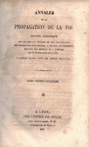 Annales de la propagation de la foi N35, AA.VV.