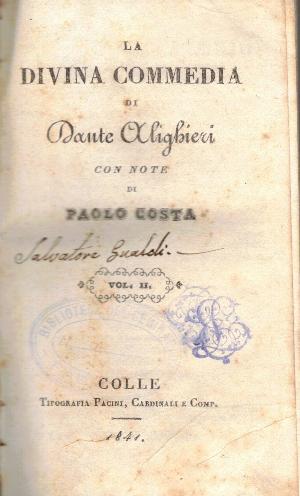 La divina commedia Vol II con note di Paolo Costa, Dante Alighieri